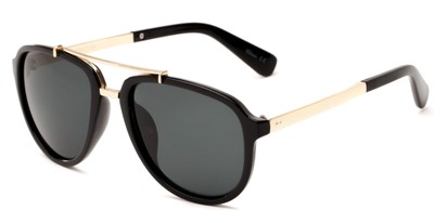 Angle of Midtown #5005 in Black/Gold Frame with Grey Lenses, Women's and Men's Aviator Sunglasses
