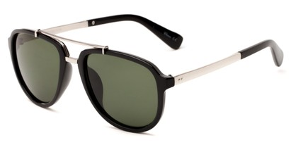 Angle of Midtown #5005 in Black/Silver Frame with Green Lenses, Women's and Men's Aviator Sunglasses
