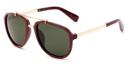 Angle of Midtown #5005 in Red/Gold Frame with Green Lenses, Women's and Men's Aviator Sunglasses
