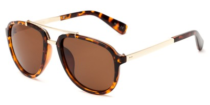 Angle of Midtown #5005 in Tortoise/Gold Frame with Amber Lenses, Women's and Men's Aviator Sunglasses