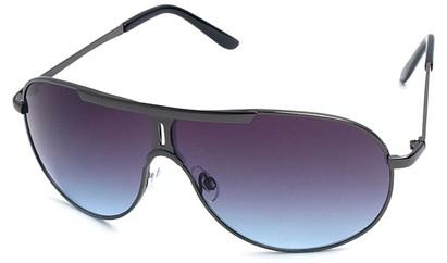 Angle of SW Aviator Style #500 in Grey Frame with Blue Lenses, Women's and Men's