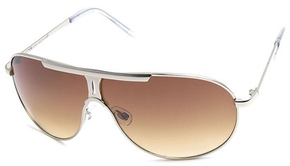 Angle of SW Aviator Style #500 in Silver Frame with Gold Lenses, Women's and Men's