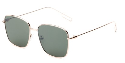Angle of Sanibel #5105 in Gold Frame with Green Tinted Lenses, Women's Square Sunglasses