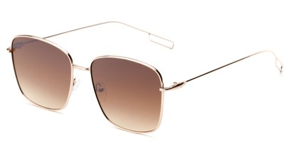 Angle of Sanibel #5105 in Gold Frame with Amber Tinted Lenses, Women's Square Sunglasses