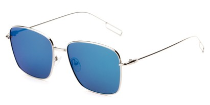 Angle of Sanibel #5105 in Silver Frame with Blue Mirrored Lenses, Women's Square Sunglasses