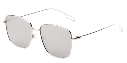 Angle of Sanibel #5105 in Silver Frame with Silver Mirrored Lenses, Women's Square Sunglasses