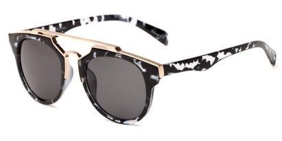 Angle of Copa #5026 in Grey Tortoise Frame with Grey Lenses, Women's Round Sunglasses
