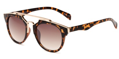 Angle of Copa #5026 in Brown Tortoise Frame with Amber Lenses, Women's Round Sunglasses