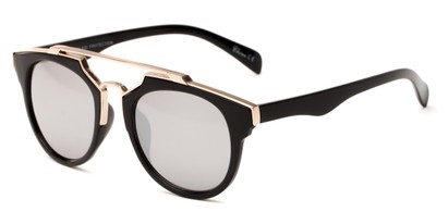 Angle of Copa #5026 in Black Frame with Silver Mirrored Lenses, Women's Round Sunglasses