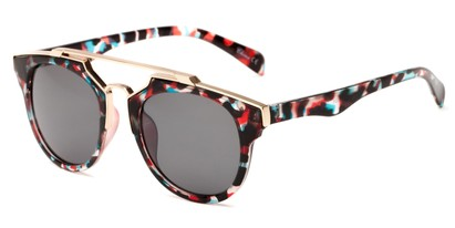 Angle of Copa #5026 in Red/Blue Tortoise Frame with Grey Lenses, Women's Round Sunglasses