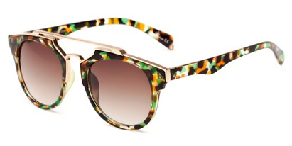 Angle of Copa #5026 in Green/Orange Tortoise with Amber Lenses, Women's Round Sunglasses