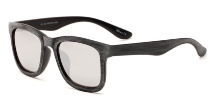 Angle of Sansome #5027 in Dark Grey Frame with Silver Mirrored Lenses, Women's and Men's Retro Square Sunglasses