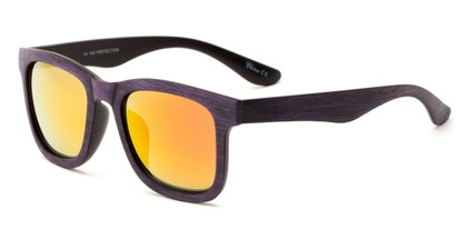Angle of Sansome #5027 in Purple Frame with Red/Orange Mirrored Lenses, Women's and Men's Retro Square Sunglasses