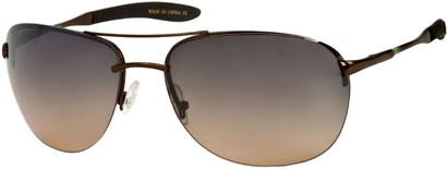 Angle of SW Large Rimless Aviator Style #49 in Bronze Frame with Gradient Amber Lenses, Women's and Men's