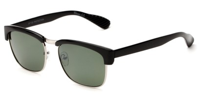 Angle of Klein #5055 in Black/Silver Frame with Green Lenses, Women's Browline Sunglasses