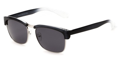Angle of Klein #5055 in Grey/Clear Fade Frame with Smoke Lenses, Women's Browline Sunglasses