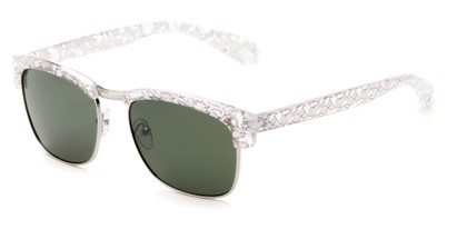 Angle of Klein #5055 in Clear/White Floral Frame with Green Lenses, Women's Browline Sunglasses