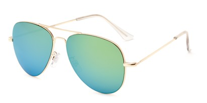 Angle of Mira Loma #5057 in Gold Frame with Green/Blue Mirrored Lenses, Women's and Men's Aviator Sunglasses