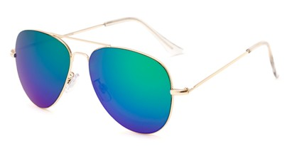 Angle of Mira Loma #5057 in Gold Frame with Green/Purple Mirrored Lenses, Women's and Men's Aviator Sunglasses