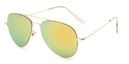 Angle of Mira Loma #5057 in Gold Frame with Yellow/Green Mirrored Lenses, Women's and Men's Aviator Sunglasses