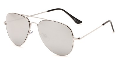 Angle of Mira Loma #5057 in Silver Frame with Silver Mirrored Lenses, Women's and Men's Aviator Sunglasses