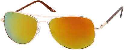 Angle of SW Polarized Mirrored Aviator Style #68 in Gold Frame with Orange Mirrored Lenses, Women's and Men's