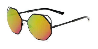 Angle of Waverly #5065 in Black Frame with Green/Pink Mirrored Lenses, Women's Round Sunglasses