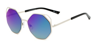 Angle of Waverly #5065 in Silver Frame with Green/Purple Mirrored Lenses, Women's Round Sunglasses