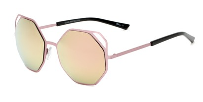 Angle of Waverly #5065 in Pink Frame with Yellow Mirrored Lenses, Women's Round Sunglasses