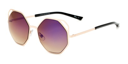 Angle of Waverly #5065 in Gold Frame with Purple Mirrored Lenses, Women's Round Sunglasses