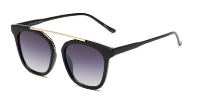 Angle of Presidio #50850 in Black Frame with Grey Lenses, Women's Square Sunglasses