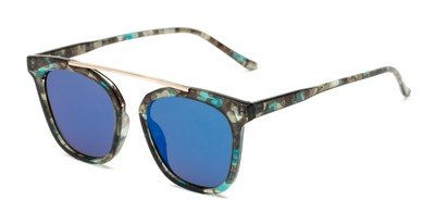 Angle of Presidio #50850 in Blue Tortoise Frame with Blue Mirrored Lenses, Women's Square Sunglasses