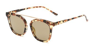 Angle of Presidio #50850 in Tortoise Frame with Gold Mirrored Lenses, Women's Square Sunglasses