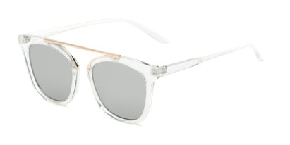 Angle of Presidio #50850 in Clear Frame with Silver Mirrored Lenses, Women's Square Sunglasses