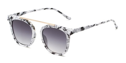 Angle of Presidio #50850 in White/Black Marble Frame with Grey Lenses, Women's Square Sunglasses