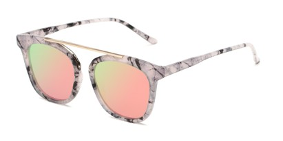 Angle of Presidio #50850 in Pink/Black Marble Frame with Pink/Green Mirrored Lenses, Women's Square Sunglasses