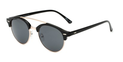 Angle of Elliott #5089 in Glossy Black/Gold Frame with Grey Lenses, Women's and Men's Round Sunglasses