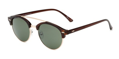 Angle of Elliott #5089 in Glossy Brown/Gold Frame with Green Lenses, Women's and Men's Round Sunglasses