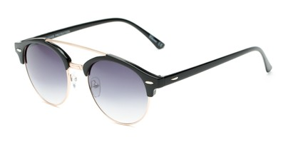 Angle of Elliott #5089 in Glossy Black/Gold Frame with Smoke Lenses, Women's and Men's Round Sunglasses