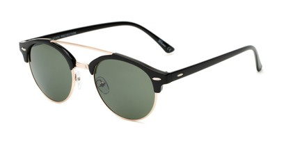 Angle of Elliott #5089 in Glossy Black/Gold Frame with Green Lenses, Women's and Men's Round Sunglasses