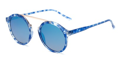Angle of Forrest #5096 in Matte Blue Tortoise Frame with Blue Mirrored Lenses, Women's Round Sunglasses
