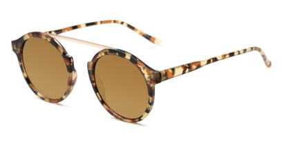 Angle of Forrest #5096 in Matte Brown Tortoise Frame with Gold Mirrored Lenses, Women's Round Sunglasses