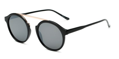 Angle of Forrest #5096 in Glossy Black Frame with Grey Lenses, Women's Round Sunglasses
