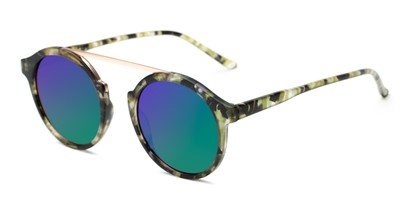 Angle of Forrest #5096 in Matte Green Tortoise Frame with Green/Purple Mirrored Lenses, Women's Round Sunglasses
