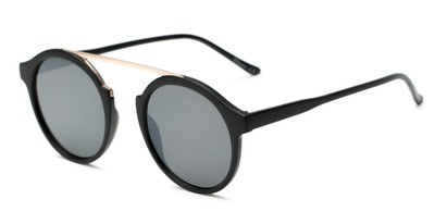 Angle of Forrest #5096 in Matte Black Frame with Grey Lenses, Women's Round Sunglasses