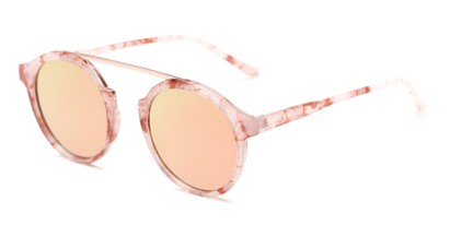 Angle of Forrest #5096 in Glossy Pink Tortoise Frame with Pink/Yellow Mirrored Lenses, Women's Round Sunglasses
