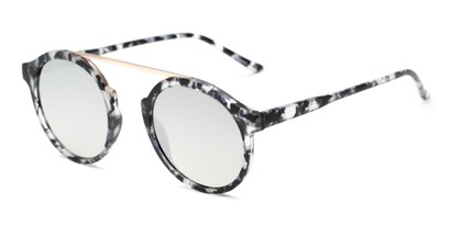 Angle of Forrest #5096 in Matte Black Tortoise Frame with Silver Mirrored Lenses, Women's Round Sunglasses