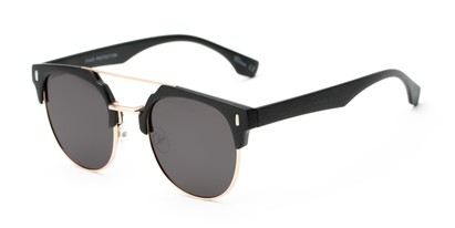 Angle of Austin #5104 in Black/Gold Frame with Grey Lenses, Women's and Men's Round Sunglasses