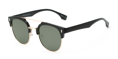 Angle of Austin #5104 in Black/Gold Frame with Green Lenses, Women's and Men's Round Sunglasses