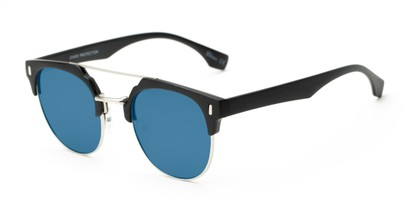 Angle of Austin #5104 in Black/Silver Frame with Blue Mirrored Lenses, Women's and Men's Round Sunglasses